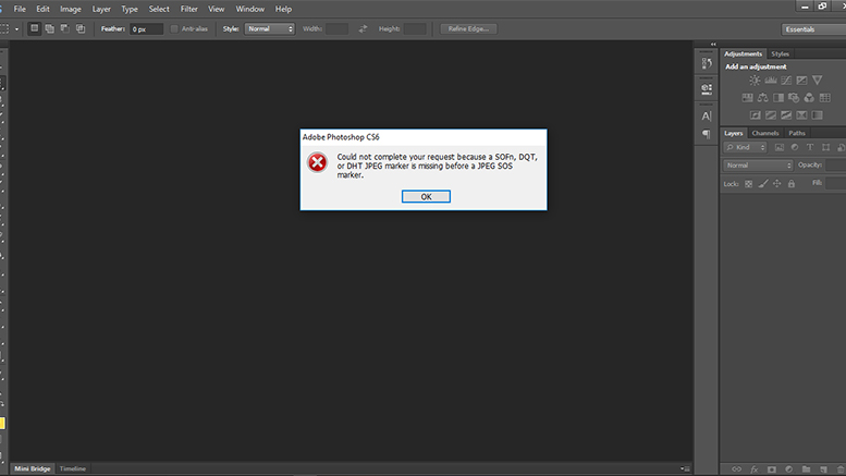 Could not complete your request because a SOFn, DQT, or DHT JPEG marker is missing before a JPEG SOS marker di Photoshop